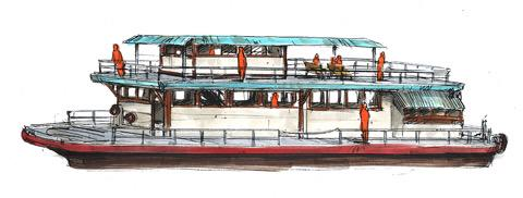 Artwork from YS Twitter: Choubu passenger boat.